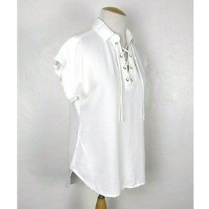 Cloth & Stone Anthro Peasant Lace Up Blouse